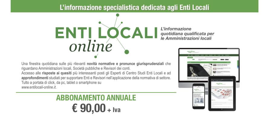 Offerta speciale 2019: un anno di abbonamento a Entilocali-online.it a soli 90 €